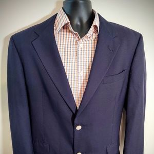 Burberry 43R Navy gold button blazer sport coat